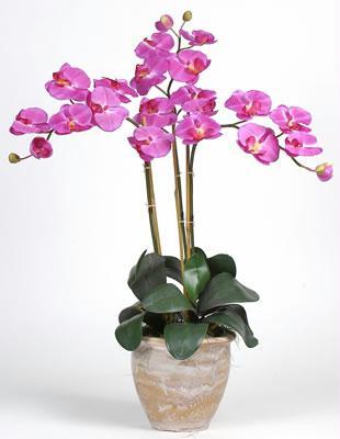 Nearly Natural 1017-OR Triple Stem Phalaenopsis Silk Orchid Arrangement NN1017-OR