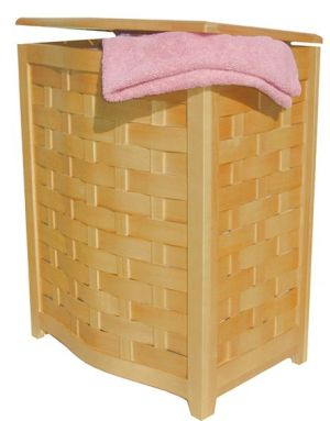Oceanstar BHV0100N-Natural Finished Bowed Front Laundry Hamper with Interior Bag
