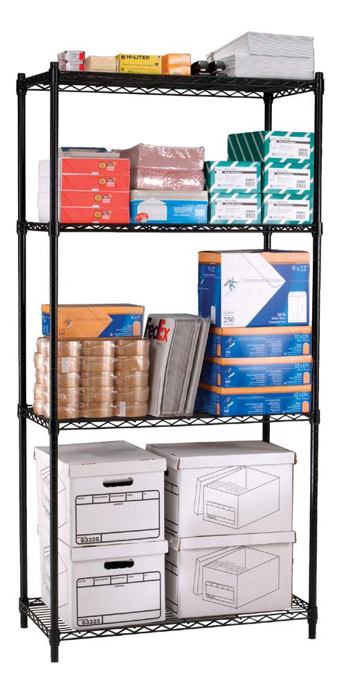 OFM S367218-BLK Complete 4 Shelf Unit 36 x 72 x 18 Inches