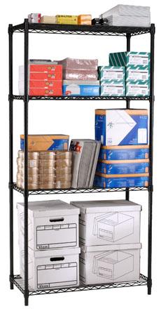 OFM S367224-BLK Complete 4 Shelf Unit 36 x 72 x 24 Inches