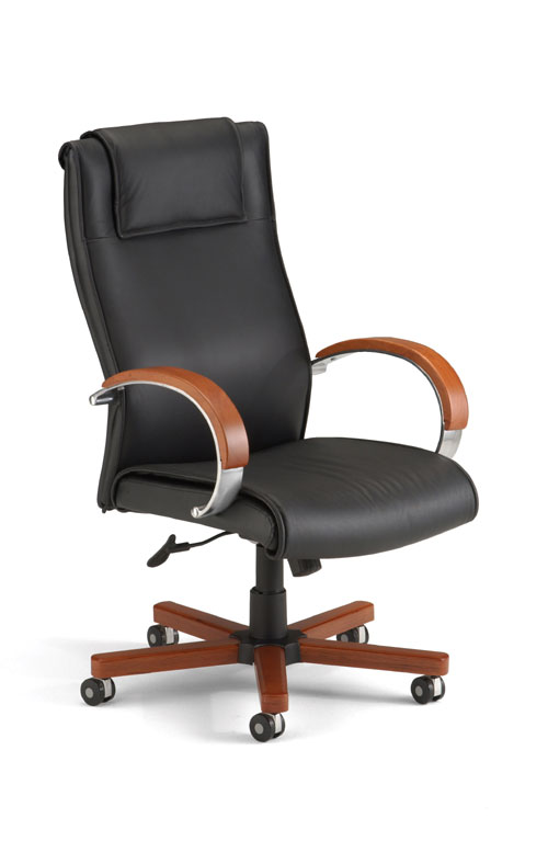 OFM 560-L-CHERRY Executive Leather Chair with Wood Accents - Hi-Back