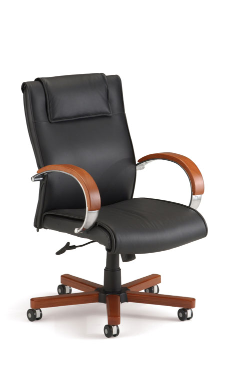 OFM 561-L-CHERRY Executive Leather Chair with Wood Accents Mid-Back