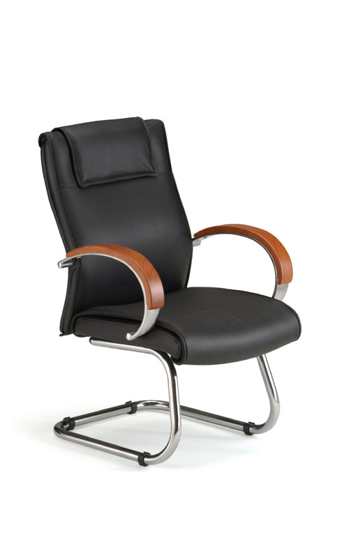 OFM 565-L-CHERRY Executive Leather Guest Chair with Wood Accents