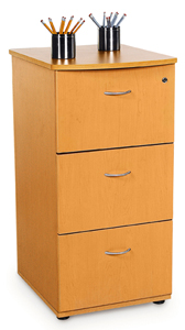 OFM 55505-CHY Venice Three Drawer File with Lock - Cherry and Silver