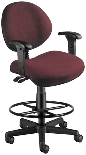 OFM 241-AA-DK-201 24 Hour Computer Task Chair with Arms and Drafting Kit - Burgundy