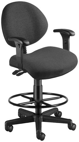 OFM 241-AA-DK-203 24 Hour Computer Task Chair with Arms and Drafting Kit - Charcoal