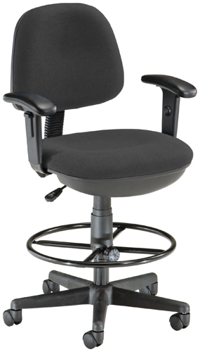 OFM 150-AA-DK-126 Lite Use Computer Task Chair with Arms and Drafting Kit - Black