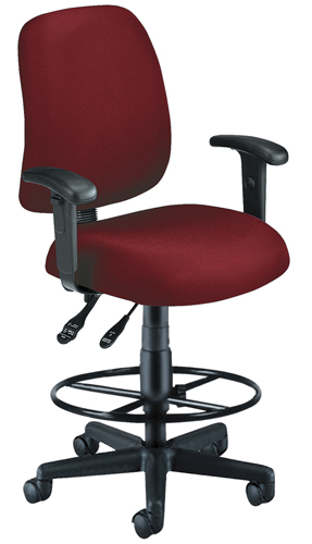 OFM 118-2-AA-DK-803 Posture Task Chair with Arms and Drafting Kit-Wine