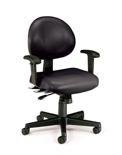 OFM 241-VAM-AADK-66 Vinyl 24 Hour Computer Task Chair with Arms and Drafting Kit - Black