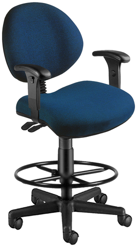 OFM 241-VAM-AADK-65 Vinyl 24 Hour Computer Task Chair with Arms and Drafting Kit - Navy