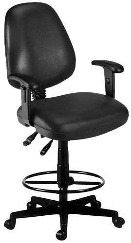 OFM 119-VAM-AADK-66 Vinyl Posture Task Chair with Arms and Drafting Kit-Black