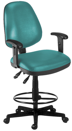 OFM 119-VAM-AADK-62 Vinyl Posture Task Chair with Arms and Drafting Kit-Teal