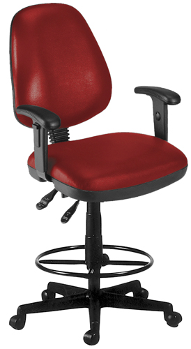 OFM 119-VAM-AADK-63 Vinyl Posture Task Chair with Arms and Drafting Kit-Wine