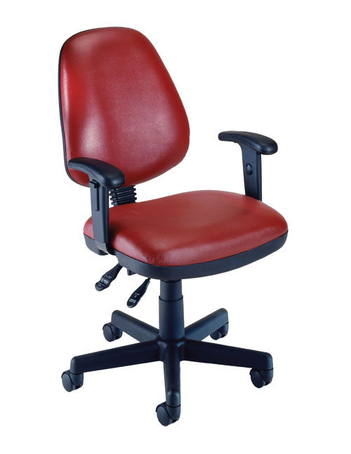OFM 119-VAM-AA-603 Vinyl Posture Task Chair with Arms-Wine