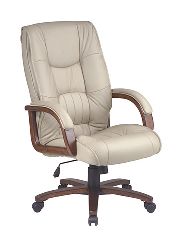 Smart Glove - Office Star MAN5343L-G11 Work Smart Deluxe Pillow Back Executive Glove Soft Leather Chair - Tan