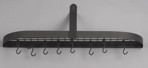 Old Dutch  121GU 36 x 9 x 11.25 Inch Graphite Wall Pot Rack with 12 Hooks