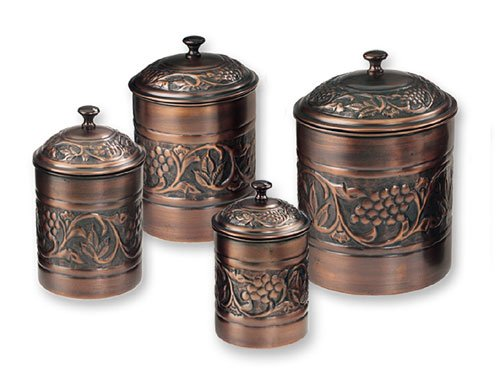 Old Dutch  811 Antique Embossed Canisters  4Qt  2Qt   1.5Qt  1Qt - Set of 4