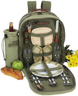 Picnic At Ascot 080-H Hamptons Picnic Backpack for 2 OLIVE TWEED