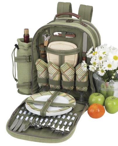 Picnic At Ascot 081-H Hamptons Picnic Backpack for 4 OLIVE TWEED