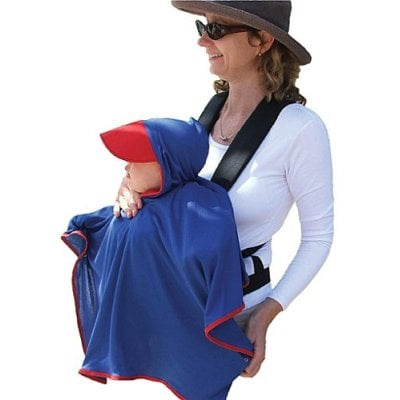 Sun Hat - Protect-a-Bub CapeWN Carry Me Sun Free UPF 50 Plus Cape With Hat - White With Navy Tirm