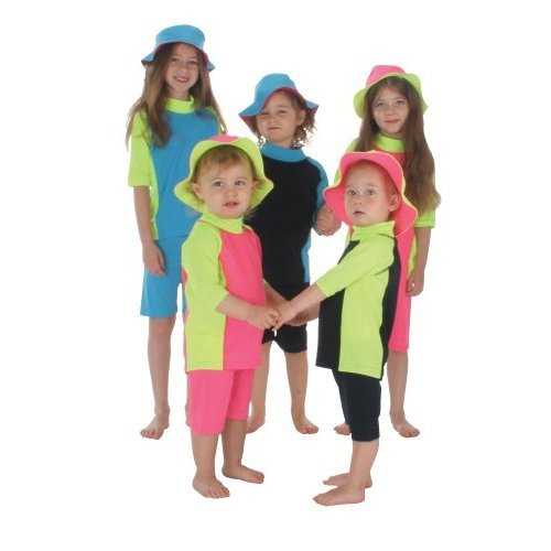 Swim Suits - Protect-a-Bub 900PY1 2 Piece Swim Suit - Size 1 (1-2yrs) -Pink With Yellow Trim