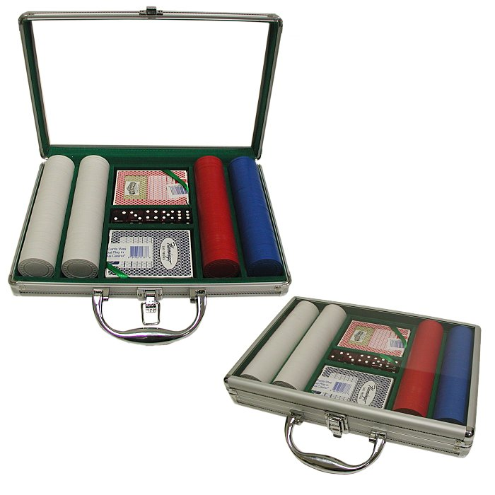 200 Super Diamond Poker Chips with Clear Cover Aluminum Case