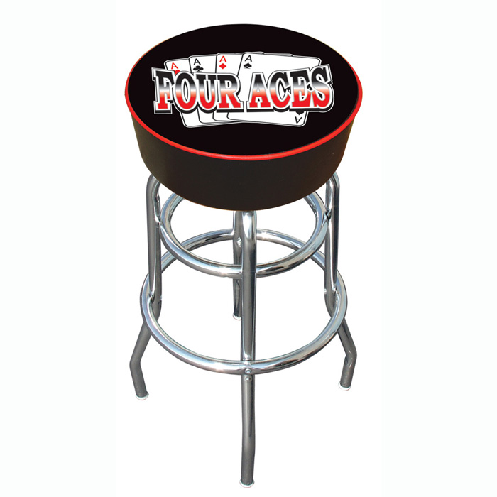 "Poker FA1000 30"" Four Aces Logo Padded Bar Stool"