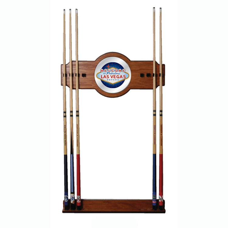Las Vegas 2 piece Wood and Mirror Wall Cue Rack