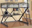 Powell 354-117 Z-Bedroom Full Size Loft Study Bunk Bed - Textured Black with Silver Trim & Pulls