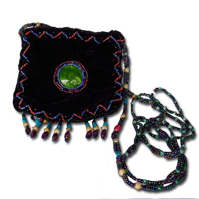 Beaded Purse - Peacock TBP001Purple Tibetan Velvet Purse With Beaded Strap - Purple