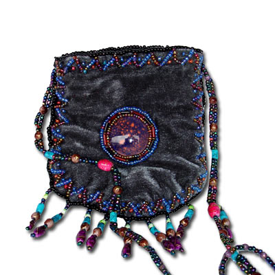 Beaded Purse - Peacock TBP001Gray Tibetan Velvet Purse With Beaded Strap - Gray