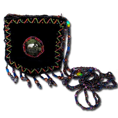 Beaded Purse - Peacock TBP001Black Tibetan Velvet Purse With Beaded Strap - Black