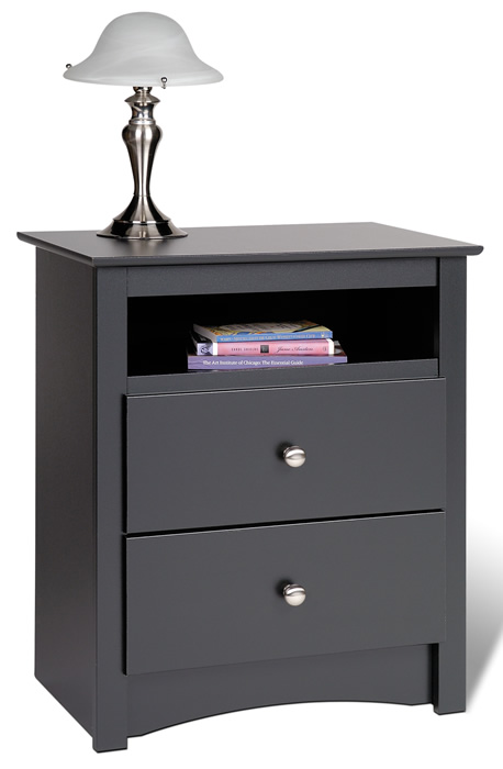 Prepac BDC-2428 Sonoma 2 Drawer Tall with Open Cubbie Black