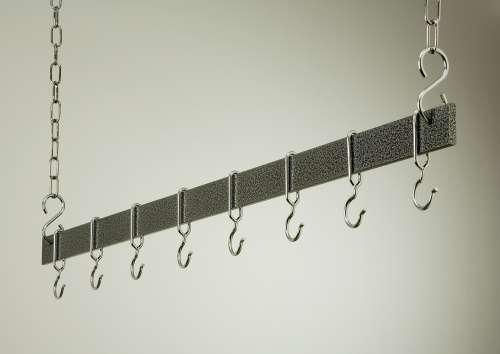 Rogar 1601 48 Inch Hammered Steel Hanging Bar Rack/Chrome