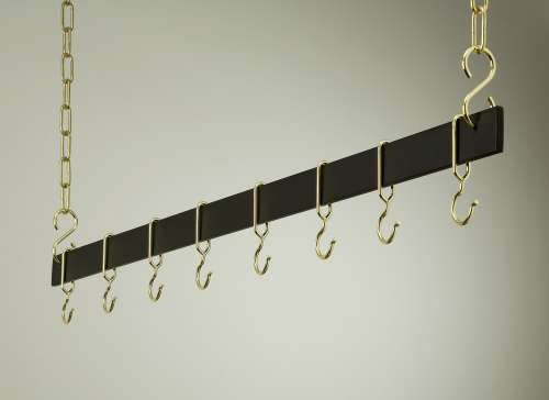 Rogar 1716 54 Inch Black Hanging Bar Rack/Brass at Sears.com