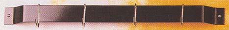 Rogar 1010 18 Inch Bar Rack: Black with 6 Black Regular Hooks