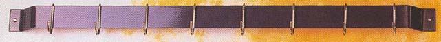 Rogar 1210 30 Inch Bar Rack - Black with 8 Black Regular Hooks