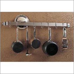 Rogar 1301 36 Inch Bar Rack - Hammered Steel with 8 Chrome Regular Hooks