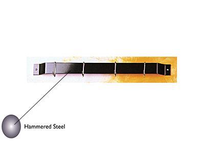 Rogar 1401 12 Inch Bar Rack - Hammered Steel-4 Chrome Regular Hooks