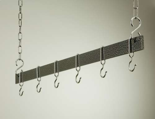 Rogar 1405 36 Inch Hanging Bar - Hammered Steel and Chrome