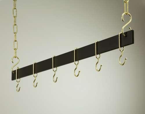 Rogar 1516 42 Inch Hanging Bar - Black and Brass