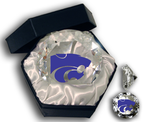 Paragon Innovations Co KansasStateUDmd Kansas State logo on a  high brilliance diamond cut crystal.