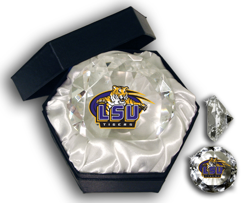 Paragon Innovations Co LSUDmd LSU logo on a  high brilliance diamond cut crystal.