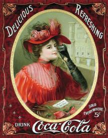 Victorian Dress - Tin Sign COKE Victorian Red Dress
