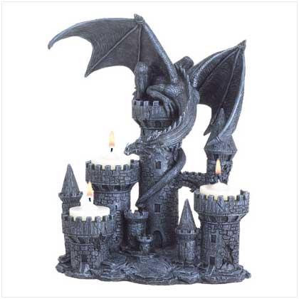 """SWM 37960 7 1/2"""" L x 5 1/8"""" W x 9 1/4"""" H Dragon candle holder - Polyresin"""