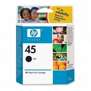 HP 45 Black Ink Cartridge - 833 Page - Black - Package: 1 Retail