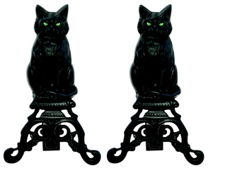 Uniflame A-1251 BLACK CAST IRON CAT ANDIRONS WITH REFLECTIVE GLASS EYES