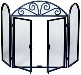 Uniflame S-1184 3 FOLD BLACK WROUGHT IRON SCREEN WITH OPENING DOORS