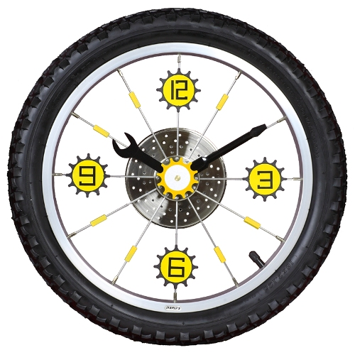 Maples LZXC-16-BK Bike Wall Clock - With Black Tire Rim and Rubber Tire