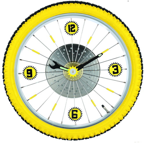 Maples LZXC-16-YL Bike Wall Clock - With Yellow Tire Rim and Rubber Tire